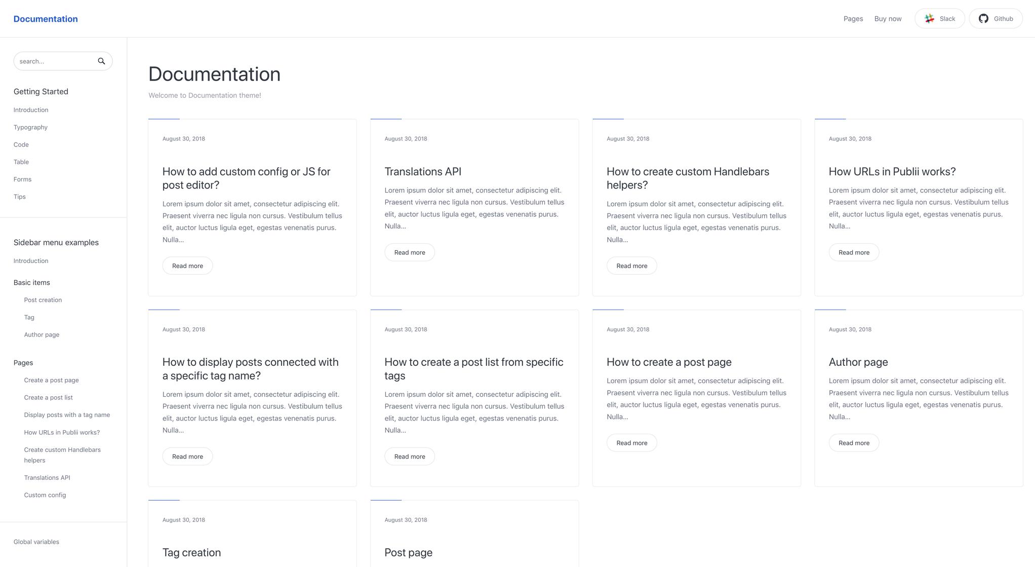 Documentation theme cards layout