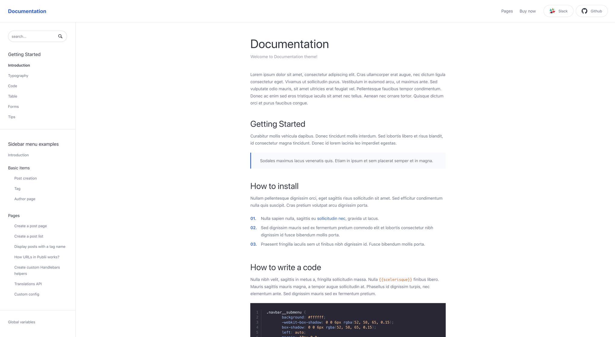 Documentation theme centered layout