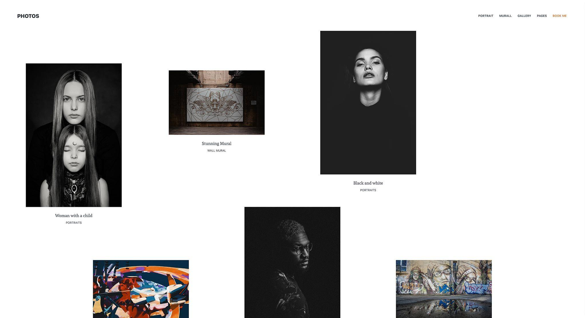 Photography theme with Art-Wall layout