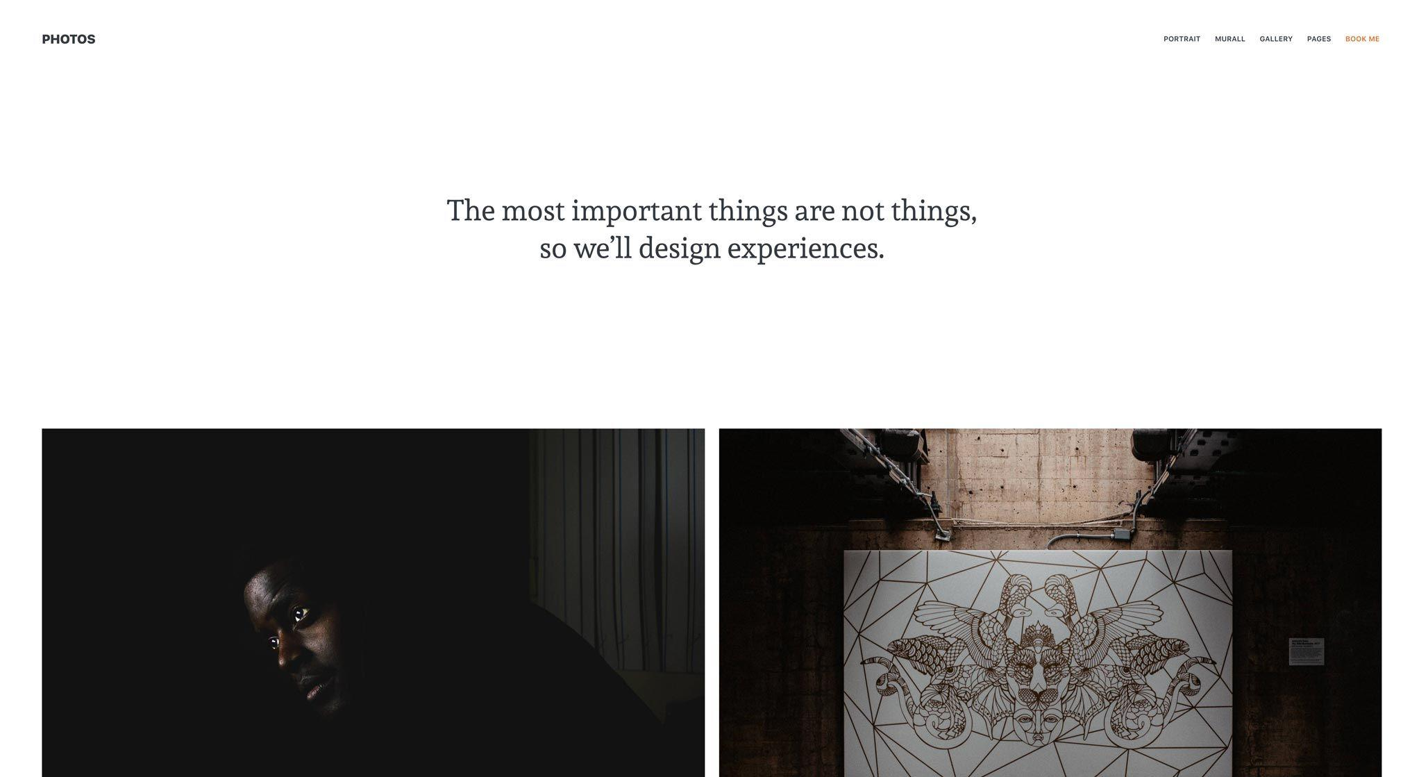 Photography theme with masonry layout