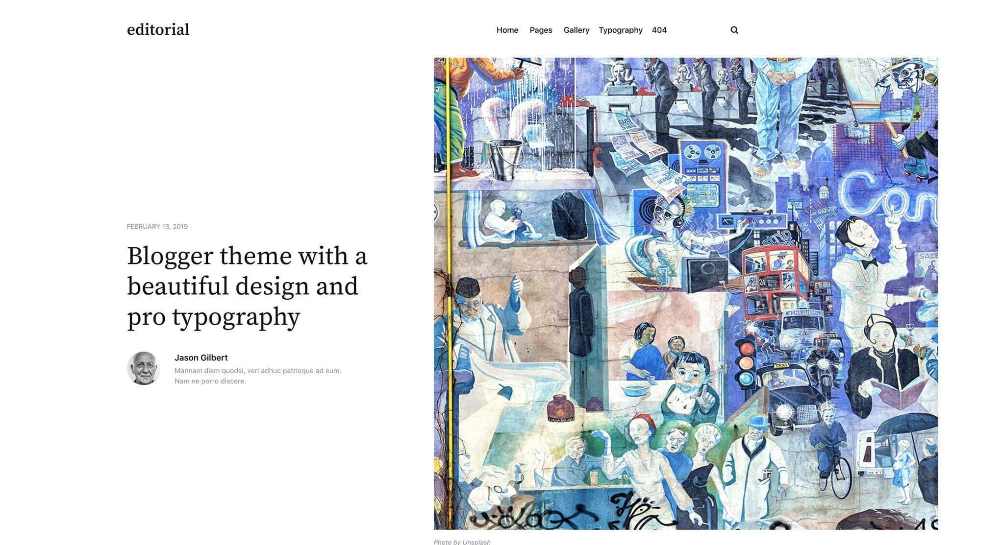 Editorial Static Theme with a divided post layout