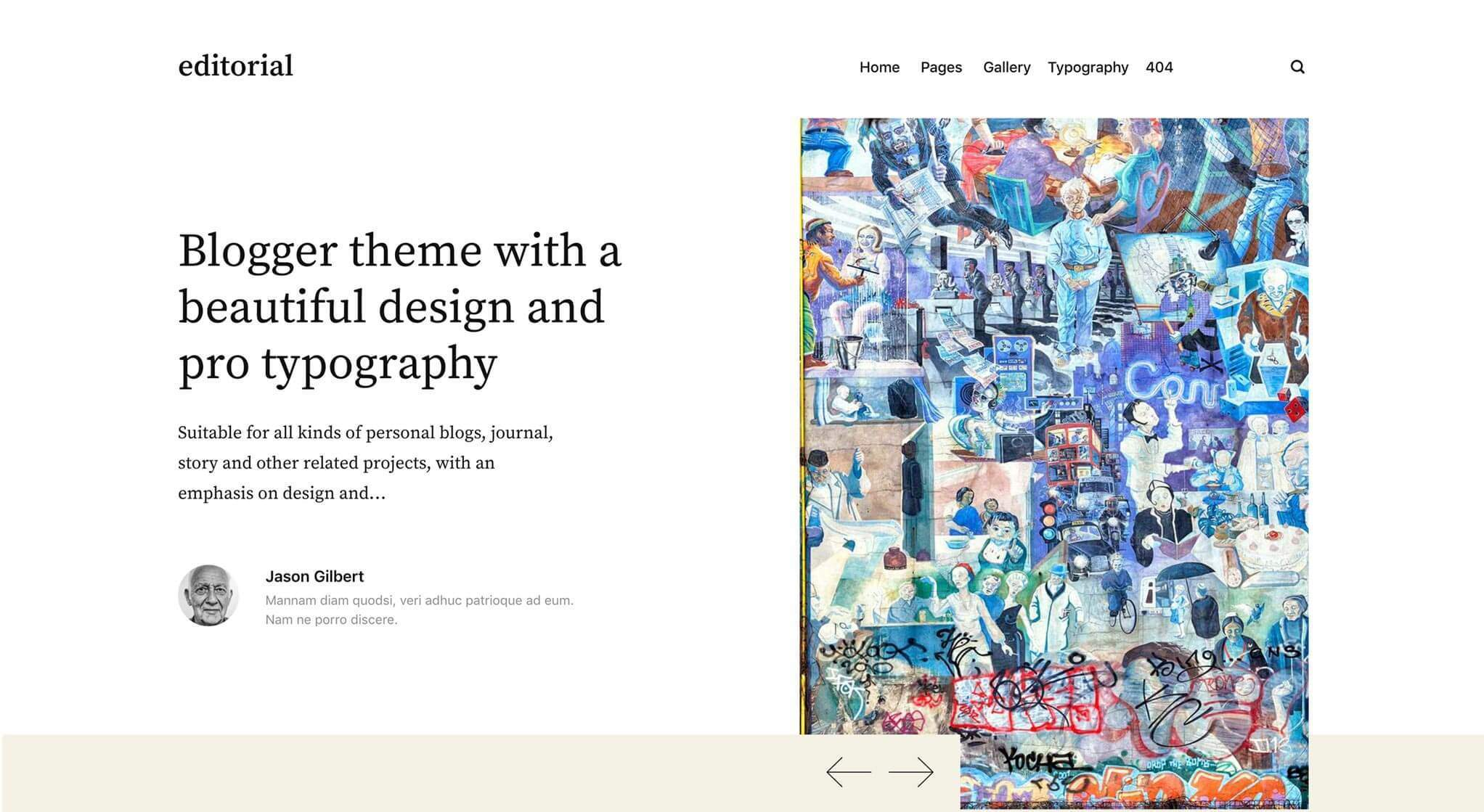 Editorial theme static hero section