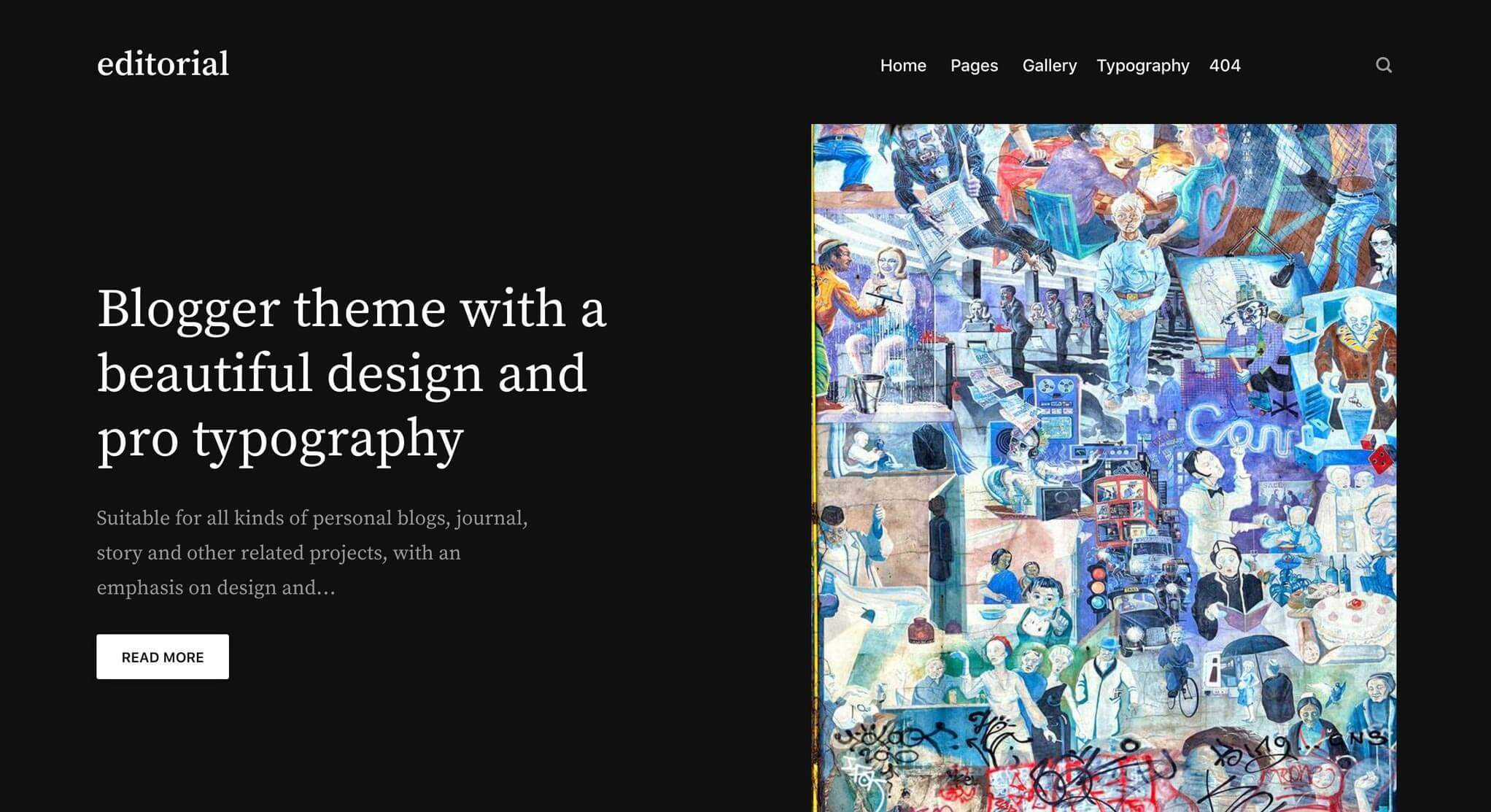 Editorial theme hero section with slider