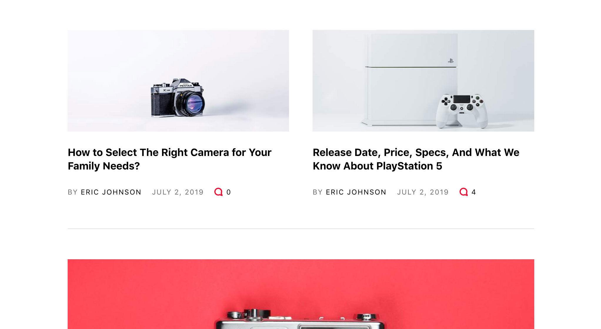 n-Tech theme Post listing layout 1
