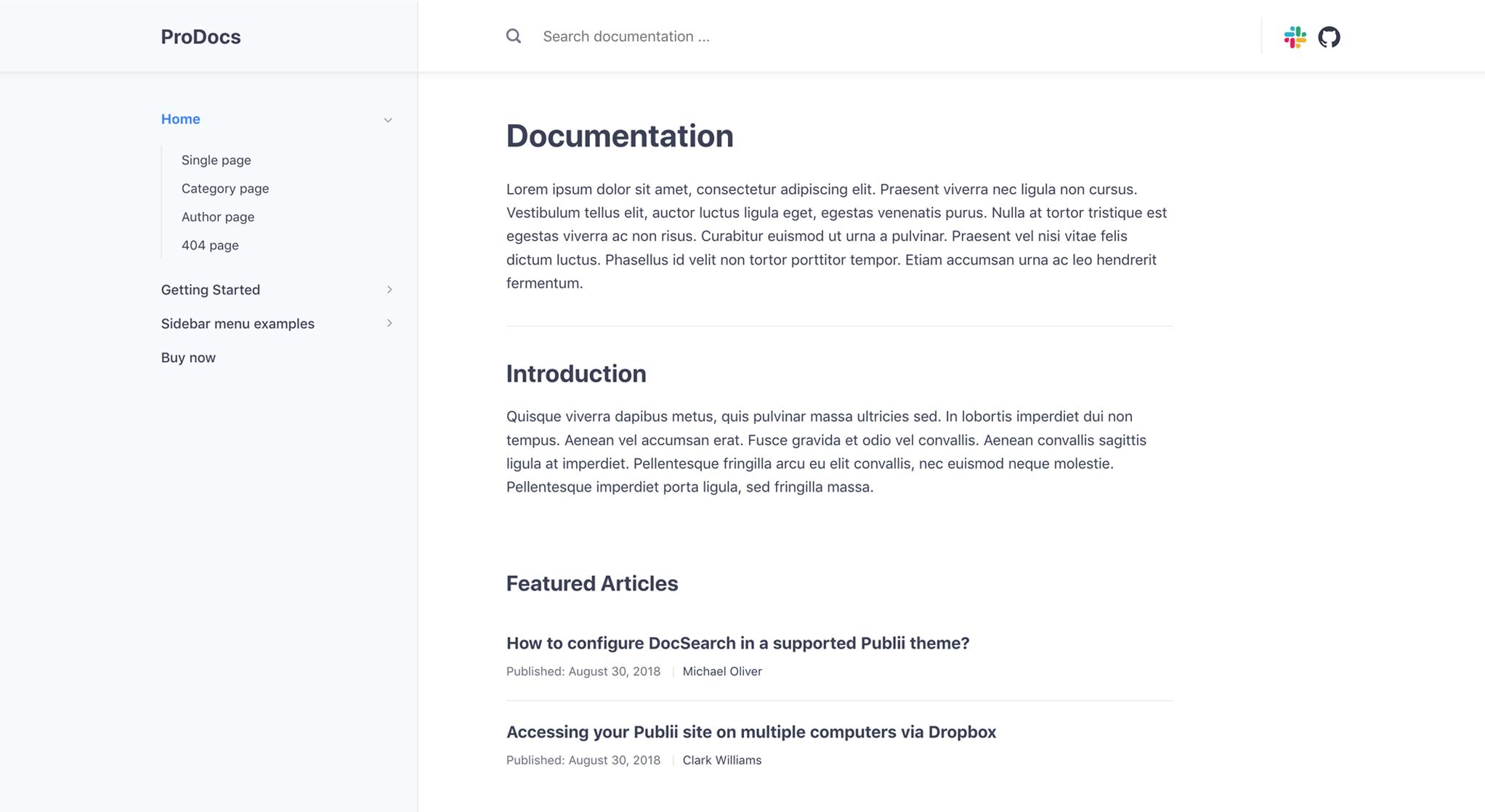ProDocs theme category layout