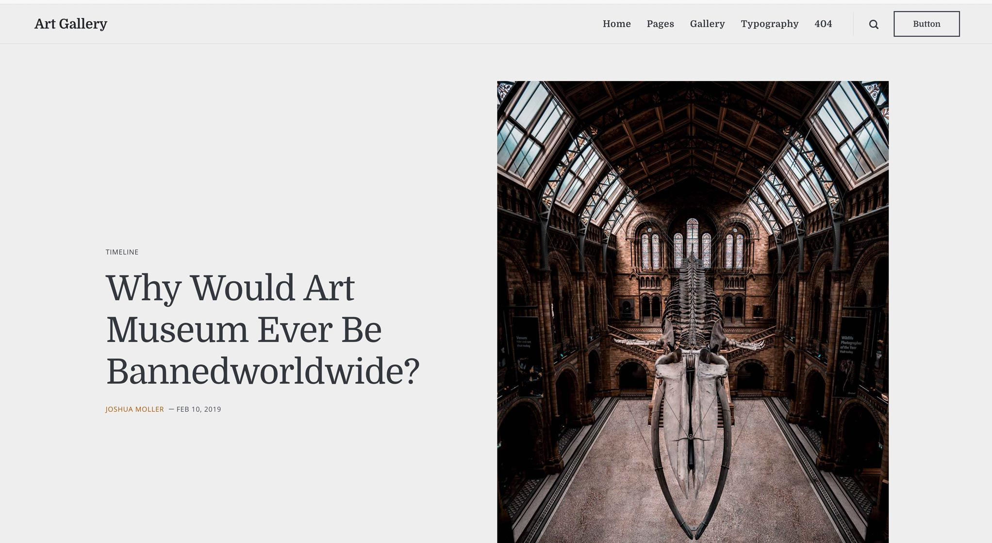 Art Gallery Static Theme with a divided post layout