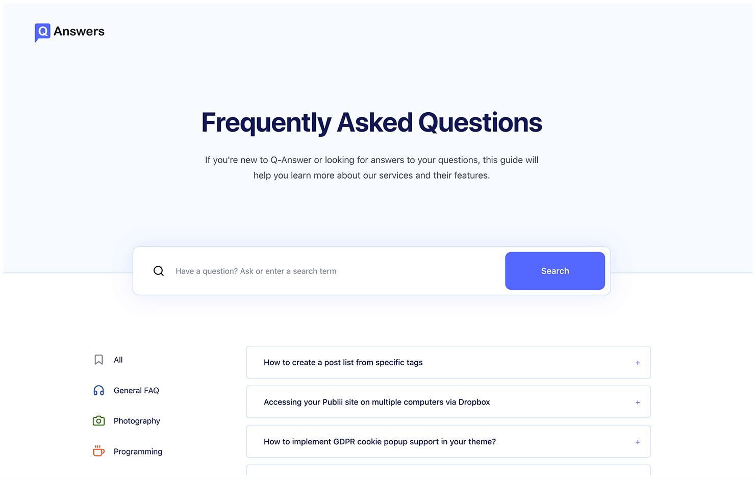 Q-Answer FAQ Static Theme