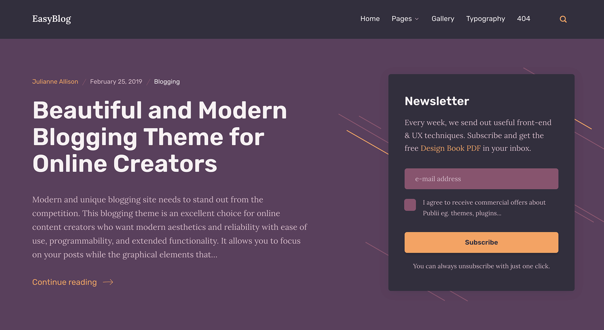 EasyBlog theme with newsletter sign up form