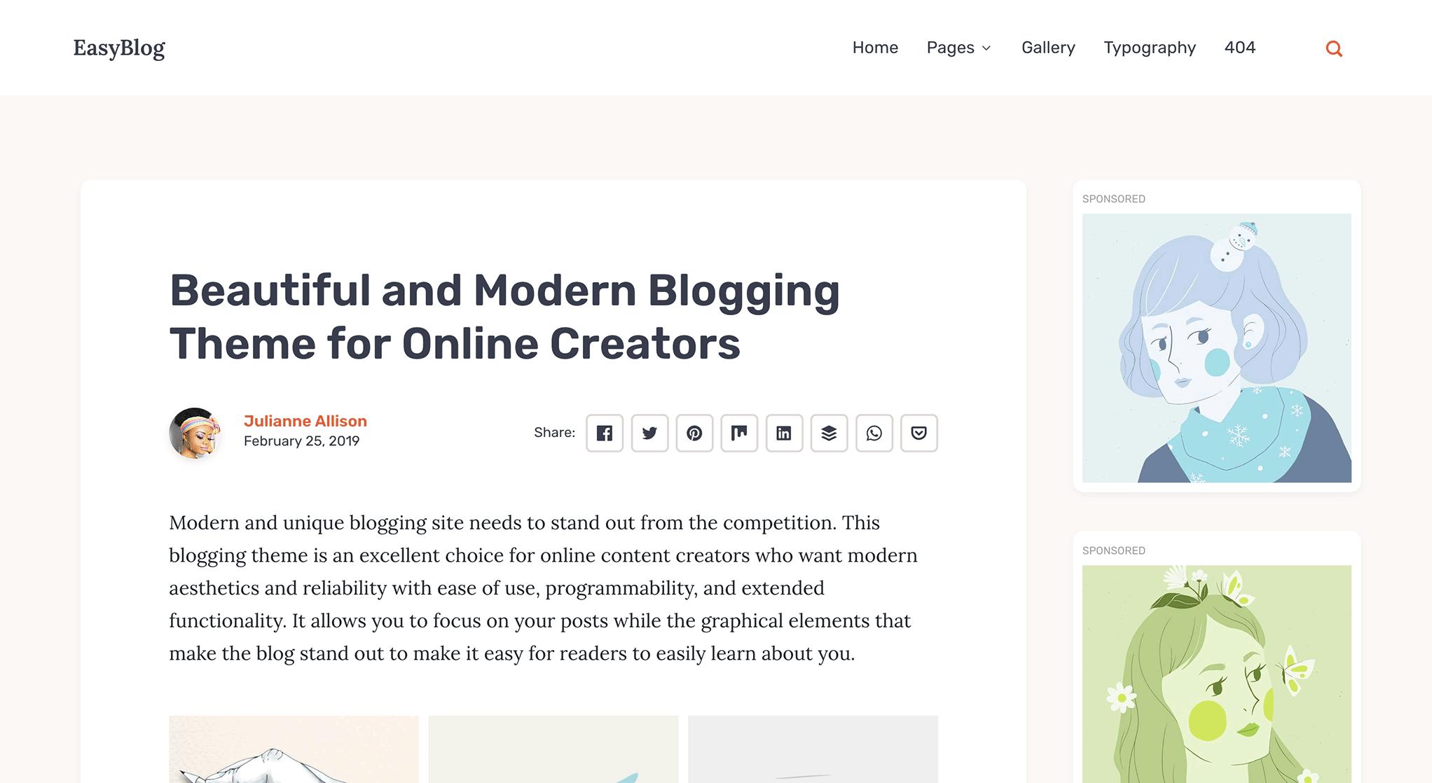 EasyBlog boxed post layout